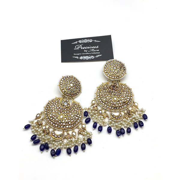 Antique Kundan Earrings With Pearl And Sapphire Hangings