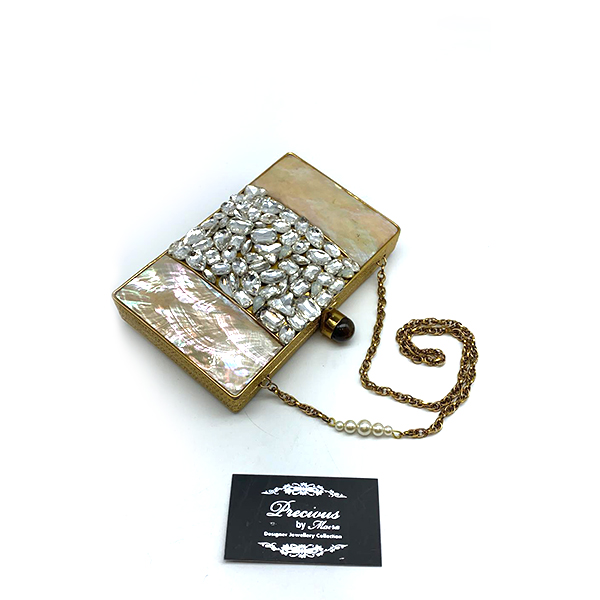 Real mother pearl clutch with Swarovski