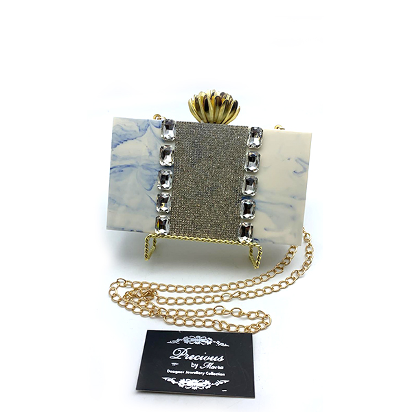 Whitish grey marble effect resin clutch with Swarovski stones and lace